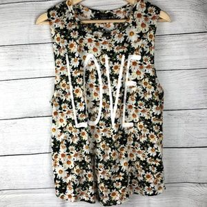 Forever 21 | Daisy Floral LOVE Graphic Tank Top
